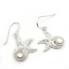 Echt 925 Silber Einhänger Ohrring Süßwasserperle Seesterne Sterne Damen weiße