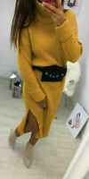 Women Ladies High Polo Roll Neck Chunky Knitted Side Slit Long Jumper Midi Dress