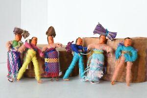 Vintage New Mexico Souvenir Guatemala String Dolls Handmade Folk Art 1950's