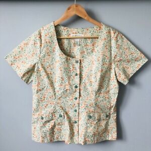 ORVIS Womens Floral Ditsy Print Scoop Neck Country Summer Blouse Top S 8-10
