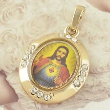 Yellow Gold Filled Jesus Christ Zircon Pendant & Necklace ! Gift Jewelry & Love