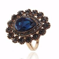 VF V495 Vintage Gray Crystal Blue CZ Alloy Ring US Size 7,8