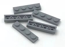 Lego 5 New Light Bluish Gray Plates 1 x 4 Dot Pieces