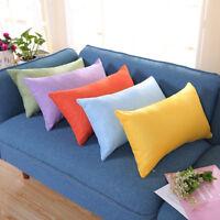 Rectangle Solid Flax Cotton Cushion Cover Silk Throw Pillow Case Home Sofa Decor