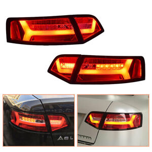 For Audi A6 2009-2011 Red LED Tail Lights Replace OEM Rear Lamps