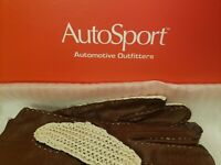 Vintage AutoSport Stringback Soft Leather Driving Gloves Brown Size M New In Box