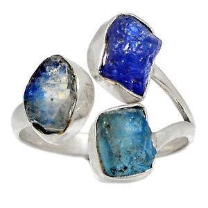 Moonstone Rough - India & Aquamarine Rough 925 Silver Ring s.9.5 BR94968