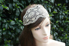 Fabulous Elegant retro Stretch Lace Ivory-Gold  Ladies , Girl Headband , Wrap