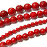 """6 8 10 12 14mm Round Taiwan Red Coral Gemstone Loose Beads Strand 15"""" Smooth"""