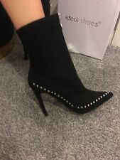 ASOS SHOE BOOT Stiletto Ankle Boots black silver Stud&Zip detail SZ 8 faux suede