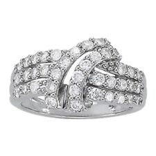 New Ladies 14k White Gold Swirl Three Row Right Hand Diamond Ring 1ct.
