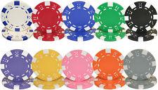 NEW 1000 Piece Striped Dice 11.5 Gram Poker Chips Bulk Lot Pick Colors
