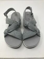 Clarks Collection Soft Cushion Comfort Fabric Sandals Gray Strappy Size 10 M