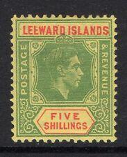 LEEWARD ISLANDS 1938-51 5/- WITH BROKEN 'E' FLAW SG 112ba MINT.