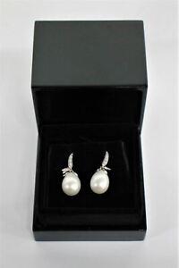 ANNOUSHKA Ladies White Gold Diamond Encrusted Custom Made Chilly Pearl Earrings