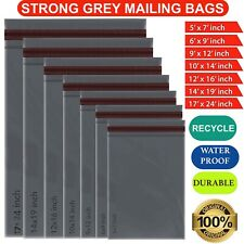 Globe Packaging Strong Mailng Postal Bags 10 x 14 inch - Grey, pack of 50