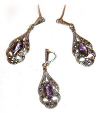 Earrings Amethyst w/Masquerite Set Mexico Taxco .925 Sterling Silver Pendant &
