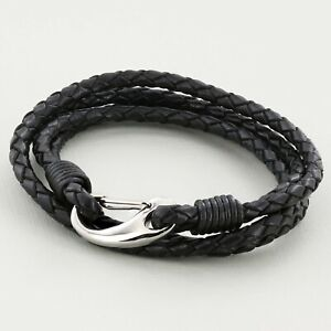 Black 4 strand real Leather Braided Wristband Bracelet Stainless Steel Clasp 3mm