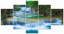 Large Peaceful Waterfall 5 Panels Modern Gallery Wrapped Giclee Canvas Wall Art