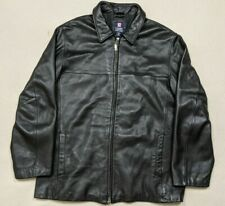 VTG Chaps Ralph Lauren Genuine Leather Jacket Coat Men's XL Full Zip Black