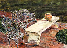 New listing Original Watercolor Painting of Wooden Bench and Wrought Iron Chair and Bench