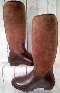 The Original Muck Arctic Adventure Brown Suede Zip Rain Boots Women US 7 / 7.5