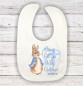 ⛪️ personalised will you be my god mother god father peter rabbit boys bib