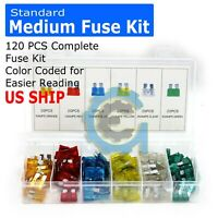 New 120PC Mediu Trucks SUV'S Auto Fuses Assorted Color Coded Car Fuse 5 to 30amp