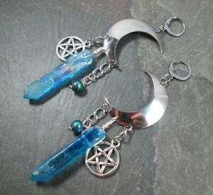 Crescent Moon Pentagram blue Quartz Crystal Witchy Earrings Celestial Jewelry