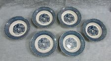 Six 1960's Royal China Blue Currier Ives Farm Gate Children Sauce Bowls FREE S/H