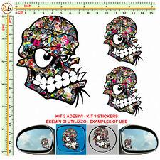 Adesivi serbatoio auto teschio sticker bomb mirror skull green tuning helmet 3pz