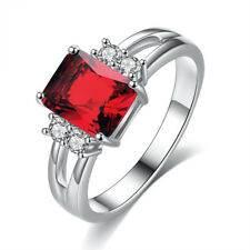 Red Ruby Crystal Ring Women's 10KT White Gold Filled Wedding Band Size 10