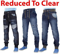 Mens Denim Jeans Rib Cuffed Straight Leg Men Trousers Pants Blue All Waist Sizes