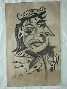 Pablo Picasso Charcoal on old paper Portrait Drawn and signed