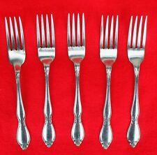 """5X Dinner Forks Oneida Chatelaine Stainless Glossy Flatware 7 1/4"""" Fork"""