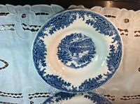 "Set of 2 Churchill ""Brook Blue"" Pattern Flat Rimmed Soup Bowls"