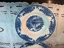 "Set of 2 Churchill ""Brook Blue"" Pattern Flat Rimmed Soup Bowls"