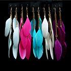 1 Pair Pretty Unique Women Girl Goose Feather Dangle Hook Eardrop Hook Earrings