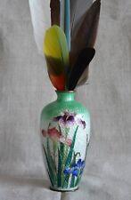 "Japanese Ginbari Cloisonne Vase, Miniature Iris Flowers Ombre Green 1900s  5"""