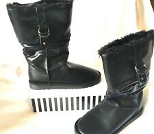 S.O.A FAB MID CALF BOOTS, SZ 7, FAUX SHEEPSKIN LINING, WORN TWICE ONLY, RRP $99!