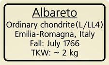 Meteorite label Albareto