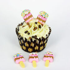 6 x ICE CREAM  Plastic Cupcake Topper Card Making Cake Decoration  CT1