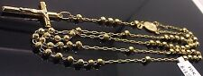 10K Yellow Gold Virgin Mary Jesus Crucifix Rosary Bead Diamond cuts Necklace 30""