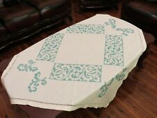 Vintage 40s Raw Linen Hand Embroidered Cross Stitched Small Tablecloth