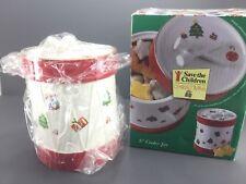 "1996 Tienshan Save The Children 8"" Christmas Cookie Jar Drum Trees Presents"