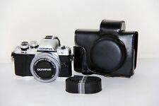 Black Leather Camera case bag Grip for Olympus EM10 Mark II 14-42mm EZ Lens ONLY