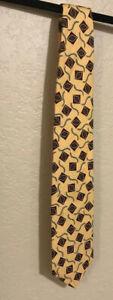 Ferrell Reed From Nordstrom • Men's Silk Neck Tie Yellow/Burgundy Geometric NWOT