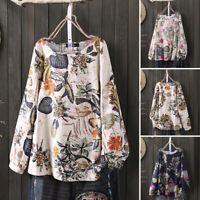 Women's Long Sleeve Crew Neck Floral Print Shirt Tops Oversized Baggy Blouse Tee