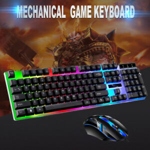 Gaming Keyboard Mouse Set Rainbow LED Wired USB For PC Laptop PS4 Xbox One 360 C