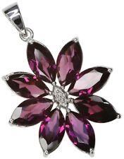 Rhodolite Garnet Gemstone Flower Sterling Silver Pendant + Chain